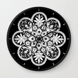 Floral Doily Pattern   Lace Crochet Doilies   Needle Crafts   Black and White   Wall Clock