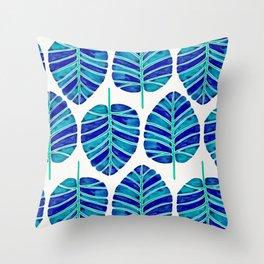 Elephant Ear Alocasia – Blue & Turquoise Palette Throw Pillow
