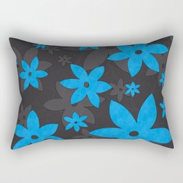 Turquoise flowers, Vines, Seamless Pattern with grey background Rectangular Pillow