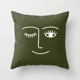 Wink (Olive) Throw Pillow