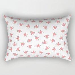 Crazy Happy Uterus in White, small repeat Rectangular Pillow