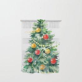 Christmas Tree Watercolors Illustration Wall Hanging