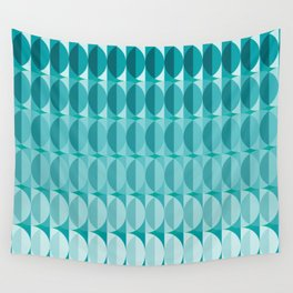 Leaves in the moonlight - a pattern in teal Wall Tapestry