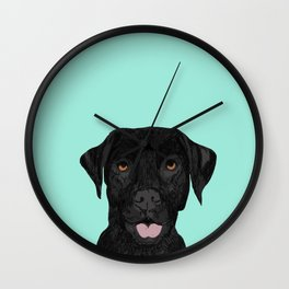 Black Labrador pet portrait dog breed art print cute dog gifts for black lab owners Wall Clock