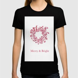 Red Merry & Bright Christmas Berry Wreath Watercolour T-shirt