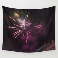 fireworks Wall Tapestries featuring Fireworks 6 by Veronika