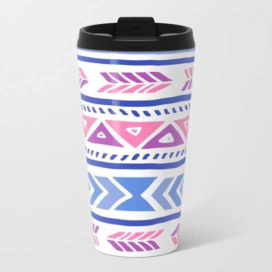 Tribal Pattern Metal Travel Mug