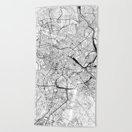 Rome White Map Beach Towel