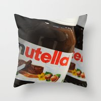 nutella Throw Pillows featuring Nutella by Max Jones