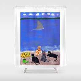 Cats on the Beach Shower Curtain