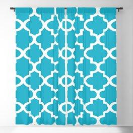 Arabesque Architecture Pattern In Cerulean Blue Blackout Curtain