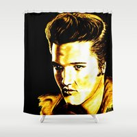 elvis presley Shower Curtains featuring Elvis Presley by GittaG74