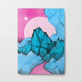 The pink river in the hills Metal Print