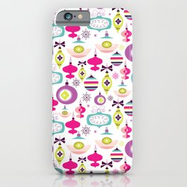 Retro Christmas Ornaments Holiday Pattern iPhone Case