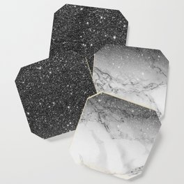 Stylish faux black glitter ombre white marble pattern Coaster