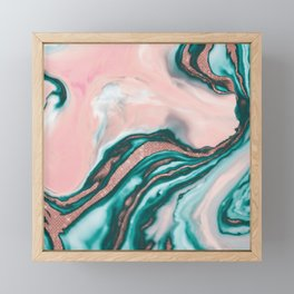 Rose Gold Glitter Pink Teal Swirly Painted Marble Framed Mini Art Print