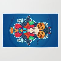 pentagram Area & Throw Rugs featuring Colorful Halloween Illustration by pixaroma