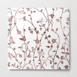 Rusty Pink Floral Pattern Metal Print