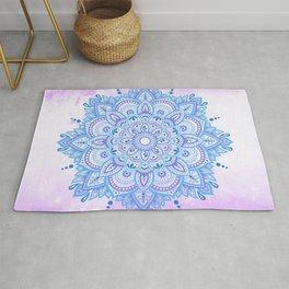 Light Blue Mandala Purple Background Rug