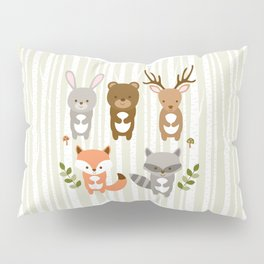 Cute Woodland Forest Animals Pillow Sham