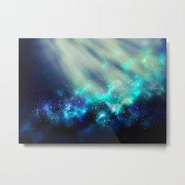 Abstract Nebula #3: Light Green Metal Print