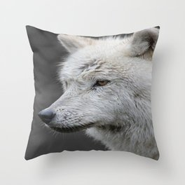 Side Portrait of an Arctic Wolf Throw Pillow