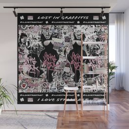 Lost in Graffitis and Stickers (square) Wall Mural