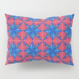 stelle blu su fondo rosso Pillow Sham