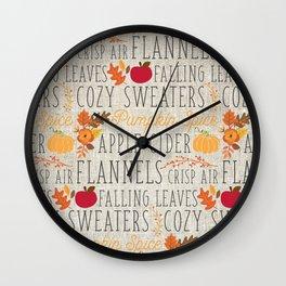 Fall Feelings, linen Wall Clock