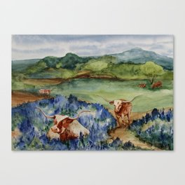 Just the Longhorns, Hanging Out Canvas Print