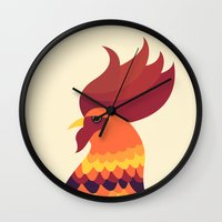cock Wall Clocks featuring Cock by Volkan Dalyan