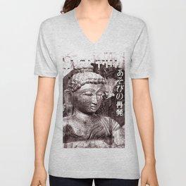 Buddha mit Fächer Unisex V-Neck