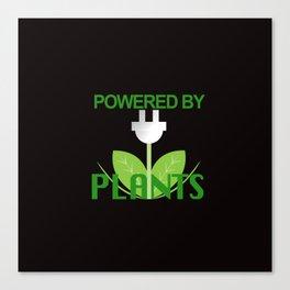Powered by Plants Vegan Art on Black Canvas Print