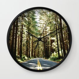 Driving in the forest Wall Clock