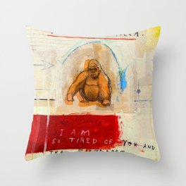 Gratuitous Simian Profanity. Throw Pillow