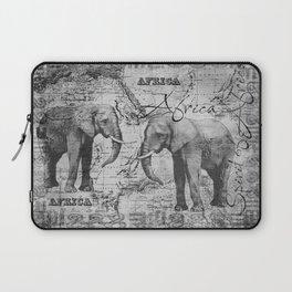 African Spirit Vintage Elephant black white Laptop Sleeve