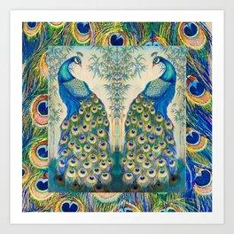 Blue Peacocks Art Print