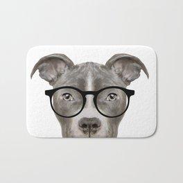 Pit bull with glasses Bath Mat
