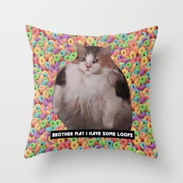 Loops Brother Kitty Throw Pillow