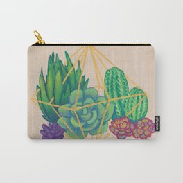 Geometric Terrarium 3 Acrylic on Wood Painting Carry-All Pouch