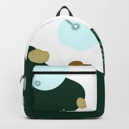 Abstract Shapes & Leaves in Forest Green & Metallic Gold Flecks Backpack