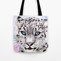 snow leopard Tote Bags featuring Snow Leopard by KimCarter