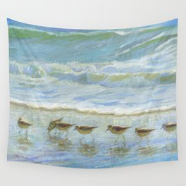 Sandpipers, A Day at the Beach Wall Tapestry