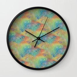 Rainbow Sparkles Leaves Flowers Wall Clock