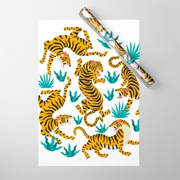 Cute tiger dance in the tropical forest hand drawn illustration Wrapping Paper