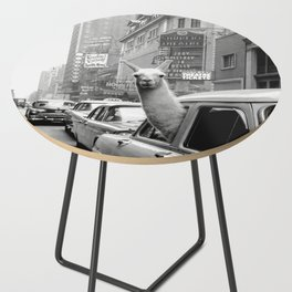 Llama Riding in Taxi, Black and White Vintage Print Side Table