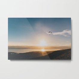 Sunset Paragliding over beach and mountains - Landscape Photography #Society6 Metal Print