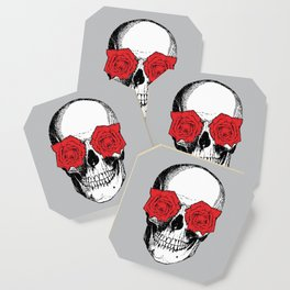 Skull and Roses | Grey and Red Coaster