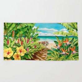 Floral Beach Path Beach Towel