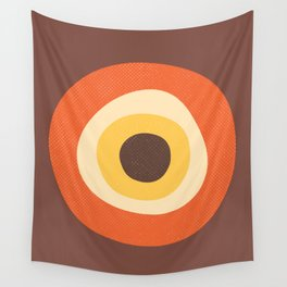 Retro Evil Eye Mid Century Modern 70s Style Geometric Orange Brown  Wall Tapestry